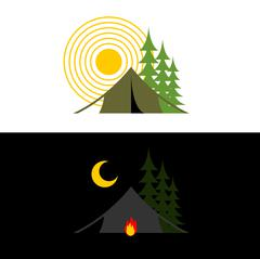 Camping day and night. Landscape with tent and forest. Accommodation in camp. Stock Illustration