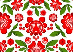 Gorodets painting seamless pattern. Floral ornament. Russian national folk cr Stock Illustration