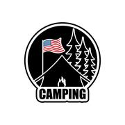 American Camping logo. Emblem for accommodation camp. USA flag. Landscape wit Stock Illustration
