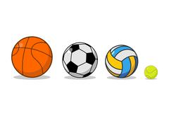 Sports ball set. Basketball and football. Tennis and volleyball. Sports equip Stock Illustration