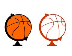 Globe basketball. World game. Sports accessory as globe. Orange sphere Stock Illustration