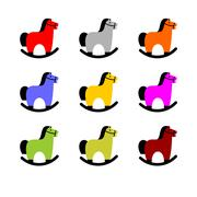 Rocking Horse set. Childrens toy horse apples. hoss for kids Stock Illustration