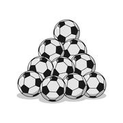 Pile of football. Many soccer balls. Sports accessory Piirros