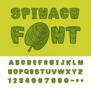Spinach font. Useful Herbs alphabet. Green lettuce leaves alphabet. Sports, d Stock Illustration