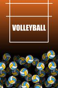 Volleyball field and ball. Lot of balls. Volleyball background. Sports access Stock Illustration