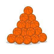 Pile of basketball ball. many of orange balls. Sports accessory Stock Illustration