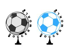 World football. Globe Soccer ball game. Sports accessory as earth sphere. Sco Stock Illustration