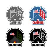 American Camping logo set day and night. Emblem for accommodation camp. USA f Stock Illustration