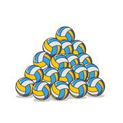 Pile volleyball ball. Many volleyball balls. Sports accessory Piirros
