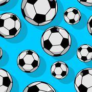 Soccer ball seamless pattern. Sports accessory ornament. Football background. Stock Illustration