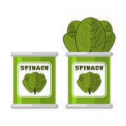 Spinach in tin. Useful Herbs. Green lettuce leaves. Dietary vegetarian food Stock Illustration
