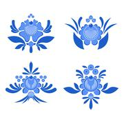 Gzhel painted set of elements Flowers and leaves. Russian national folk craft Stock Illustration