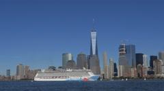 Timelapse of cruise liner Norwegian breakaway cruising in Hudson River with Stock Footage