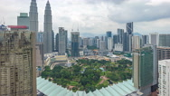 Cloudscape aerial view of Kuala Lumpur city skyline. Time lapse. Stock Footage