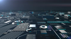 Bluish Metallic Futuristic Circuit Board moving towards camera Stock Footage