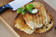 Toasted bread garlic basil Stock Photos