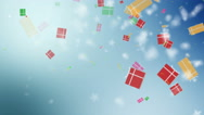 Christmas blue background with gift boxes and snowflakes falling. Stock Footage
