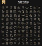 Set Vector Flat Line Icons Accounting and Finance Stock Illustration