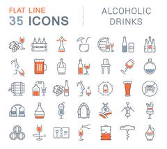 Set Vector Flat Line Icons Alcoholic Drinks Stock Illustration