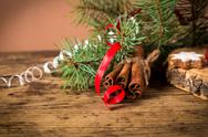 Christmas background with decoration and fir branch Stock Photos