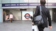 London Underground: Kings Cross St Pancras tube station entrance Stock Footage
