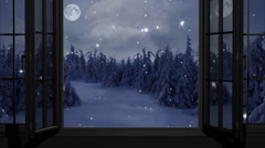 Happy New Year,Christmas,winter background,window ,moon Stock Footage