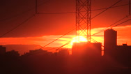 Amazing fireball red Toronto sunset Stock Footage