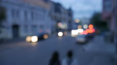 Time lapse traffic of the small evening city street. Stock Footage