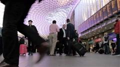 Business travel: Kings Cross train station concourse, London Stock Footage