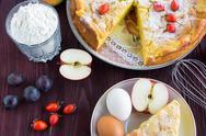 Apple pie with berries Stock Photos
