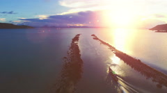 Aerial view of wooden row boat in Thailand at the sunset Stock Footage
