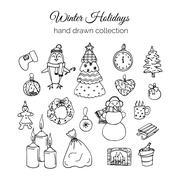 Hand Drawn Christmas Elements Set. Winter Holidays Stock Illustration