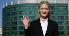 Happy Successful Pretty Woman Look Camera Hand Gestures Ok Sign Office Building Stock Footage