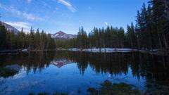 MoCo Tracking Timelapse of Sunset at Alpine Lake in Yosemite -Pan Left- Stock Footage