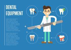 Dental equipment banner with male dentist Stock Illustration
