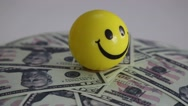 Money and happiness icon happy man Stock Footage