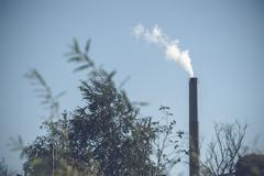 Factory chimney with white smoke Kuvituskuvat