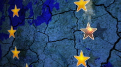 Brexit - Animation of an EU star burning out over a fractured Europe - Close Up Stock Footage