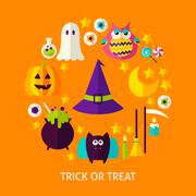 Trick or Treat Flat Concept Stock Illustration