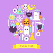 Trick or Treat Halloween Trendy Concept Stock Illustration