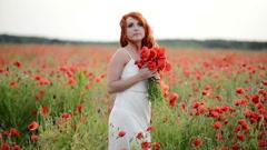Woman in poppy field Stock Footage