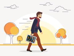 Business man going to his work with tablet pc instead of bag Stock Illustration