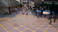 BUSES TRAMS ON DES VOEUX CENTRAL HONG KONG CHINA Stock Footage