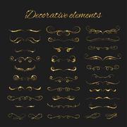 Dividers set. Vector gold ornate design. Golden flourishes Stock Illustration