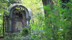 Crypt on grave in the old cemetery Stock Footage