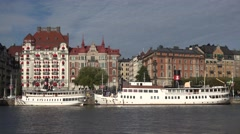 Steamboat in Stockholm city Sweden Stock Footage