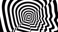 Concentric oncoming symbol, Brad Pitt profile - optical, visual illusion. Stock Footage