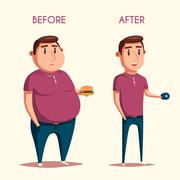 Man before and after sports. Cartoon vector illustration Stock Illustration