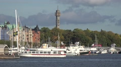 Sightseeing boats in  Stockholm city   sweden Stock Footage