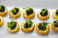 Small black fish caviar toasts on white plate on festive table Stock Photos